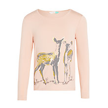 Buy John Lewis Girls' Deer Print T-Shirt, Pink Online at johnlewis.com
