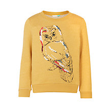 Buy John Lewis Girls' Owl Sweatshirt, Olivenite Online at johnlewis.com