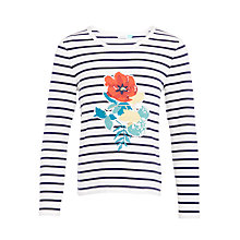 Buy John Lewis Girls' Flower Appliqué Striped Top, Gardenia/Peacoat Online at johnlewis.com