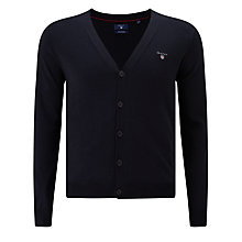 Buy Gant Wool V-Neck Button Cardigan, Navy Online at johnlewis.com
