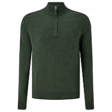 Buy Gant Donegal Tweed Half-Zip Jumper, Forest Green Melange Online at johnlewis.com