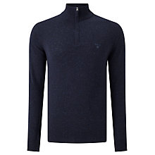 Buy Gant Donegal Tweed Half Zip Jumper, Navy Online at johnlewis.com