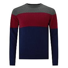 Buy Gant Chest Block Crew Neck T-Shirt, Dark Navy Melange Online at johnlewis.com