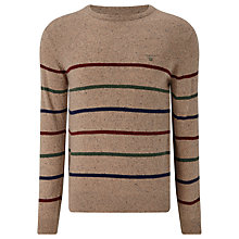 Buy Gant Donegal Tweed Striped Crew Neck Jumper, Multi Online at johnlewis.com
