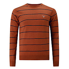 Buy Gant Cotton Wool Breton Jumper, Rust Online at johnlewis.com