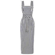 Buy Warehouse Stripe Midi Pencil Dress, Blue Online at johnlewis.com