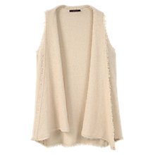 Buy Violeta by Mango Cotton Fringed Gilet, Light Beige Online at johnlewis.com