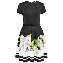 Buy Ted Baker Vidaa Forget Me Not Skater Dress, Black Online at johnlewis.com