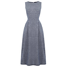Buy Warehouse Linen Open Back Dress, Light Blue Online at johnlewis.com