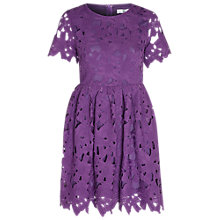 Buy True Decadence Crochet Lace Skater Dress, Grape Online at johnlewis.com