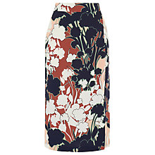 Buy Warehouse Floral Print Wrap Detail Skirt, Copper Online at johnlewis.com