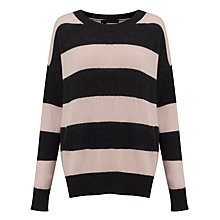 Buy 360 Sweater Cassie Stripe Jumper, Charcoal/Rose Online at johnlewis.com
