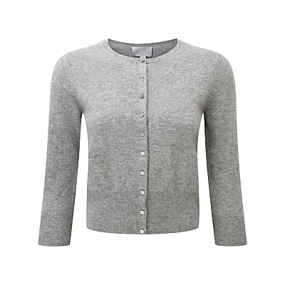 Pure Collection Adelina Crop Cashmere Cardigan, Grey