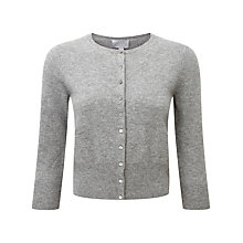 Buy Pure Collection Adelina Crop Cashmere Cardigan, Grey Online at johnlewis.com