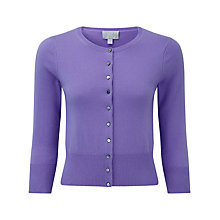 Buy Pure Collection Camilla Crop Cashmere Cardigan, Deep Lavender Online at johnlewis.com
