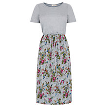 Buy Oasis Rosanna Pleated Midi Dress, Mid Grey Online at johnlewis.com