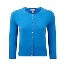 Buy Pure Collection Blake Cashmere Cropped Cardigan, Greek Blue Online at johnlewis.com