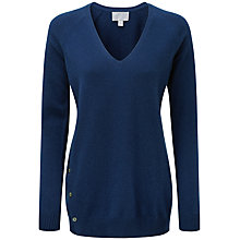 Buy Pure Collection Eli Cashmere Button Side Jumper, Navy Online at johnlewis.com