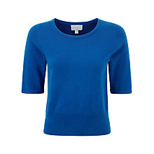 Buy Pure Collection Gianni Crop Cashmere Jumper, Oxford Blue Online at johnlewis.com