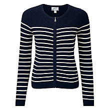 Buy Pure Collection Bridget Zip Cotton Cardigan, Navy/Ecru Online at johnlewis.com
