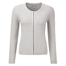 Buy Pure Collection Aubrie Zip Cardigan, Heather Grey Online at johnlewis.com