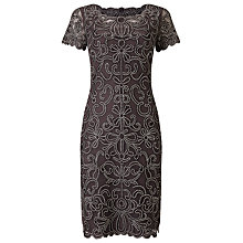 Buy Phase Eight Embroidered Taya Dress, Graphite/Cream Online at johnlewis.com