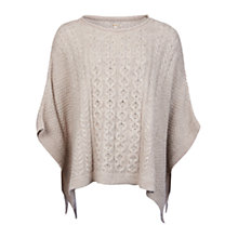 Buy Barbour Clover Cable Knit Poncho, Ecru Online at johnlewis.com