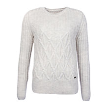 Buy Barbour Safflower Cable Knit Jumper, Vanilla Online at johnlewis.com