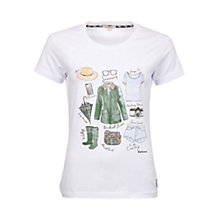 Buy Barbour Brae Travel Items T-Shirt, Optic White Online at johnlewis.com