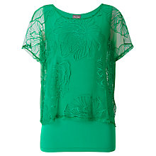 Buy Phase Eight Cecily Double Layer Top, Green Online at johnlewis.com