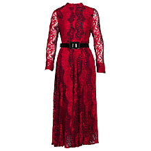 Buy Yanny London Lace Shirt Midi Dress, Red/Burgundy Online at johnlewis.com