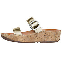 Buy FitFlop Stack Slide Wedge Heeled Sandals, Gold Online at johnlewis.com