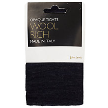 Buy John Lewis Flat Wool Blend Tights, Navy Online at johnlewis.com