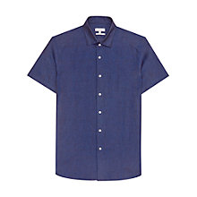 Buy Reiss Nadal Linen Short Sleeve Shirt, Indigo Online at johnlewis.com