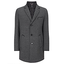 Buy Bugatti Herringbone Epsom Overcoat, Charcoal Online at johnlewis.com