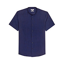 Buy Reiss Raffi Linen Short Sleeve Grandad Shirt, Indigo Online at johnlewis.com