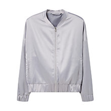 Buy Mango Satin Bomber Jacket, Grey Online at johnlewis.com
