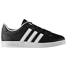 Buy Adidas Children's Laced Advantage VS Trainers, Black/White Online at johnlewis.com