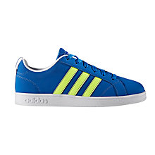 Buy Adidas Children's Laced Advantage VS Trainers, Blue/Yellow Online at johnlewis.com