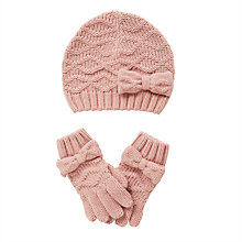 Buy John Lewis Girls' Knitted Bow Hat and Gloves Set Online at johnlewis.com
