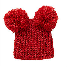 Buy John Lewis Children's Chunky Knitted Double Bobble Hat, Red Online at johnlewis.com