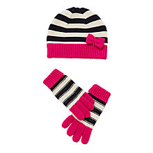 Buy John Lewis Children's Nautical Hat and Glove Set, White/Pink Online at johnlewis.com