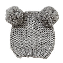 Buy John Lewis Children's Knit Sequin Bobble Hat, Grey Online at johnlewis.com