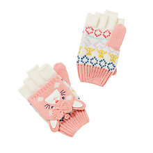 Buy John Lewis Children's Novelty Rabbit Gloves, Pink/White Online at johnlewis.com