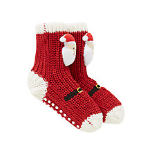 Buy John Lewis Children's Christmas Santa Chunky Knitted Socks, Red Online at johnlewis.com