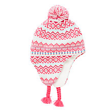 Buy John Lewis Children's Fair Isle Trapper Hat, Pink/Multi Online at johnlewis.com