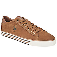 Buy Polo Ralph Lauren Hugh Suede Lace-Up Trainers, Tan Online at johnlewis.com