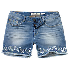 Buy Fat Face Embroidered Hem Shorts, Denim Online at johnlewis.com