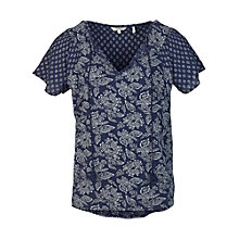 Buy Fat Face Anasofie Floral Blouse, Indigo Online at johnlewis.com