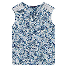 Buy Violeta by Mango Floral Print Blouse, Pastel Blue Online at johnlewis.com